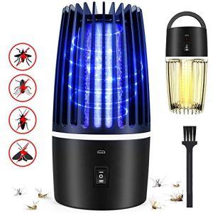 Flagicon Zanzariera Elettrica USB Ricaricabile 2 in 1 Lampada Antizanzara Elettrica Trappola per Insetti LED UV Campeggio Lanterna per Casa Cucina Ufficio Giardino Campeggio