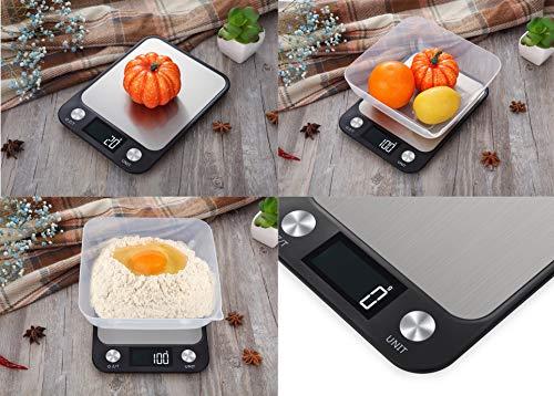 Flgel Multifunzione Bilancia Cucina Digitale Bilancia Elettronica Bilancia per Alimenti accuweight Bilancia Digitale Bilancia di precisione Display LCD retroilluminatoricarica USB 1g10 kg