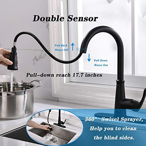 GEOATON  Rubinetto per lavello da cucina a due sensori con sensore automatico miscelatore per lavello da cucina con spruzzatore estraibile nero