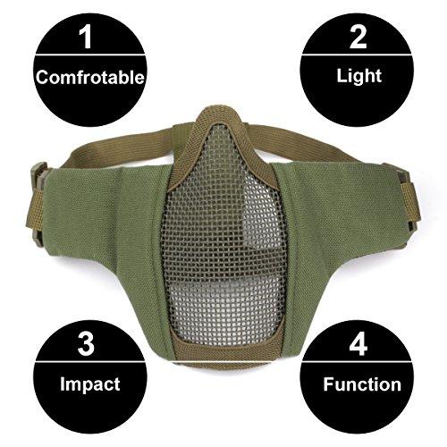 GES mascherina tattica pieghevole maschera esterna maschera protettiva maschera protettiva maschera respirabile per Airsoft Paintball CS con cintura regolabile in cintura Verde