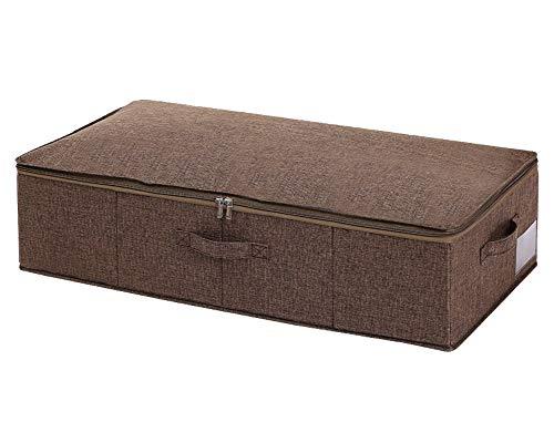 Goklmn Contenitori sotto il letto Scarpiera portaoggetti con coperchi coperte e cestini in stoffa Poliestere Caff 1 confezione 76x38x17cm