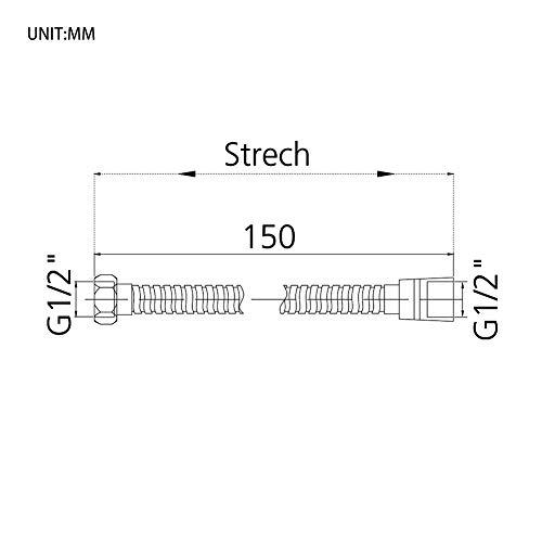 GRIFEMA COMPLENTOG851Flessibile Doccia in Acciaio Inossidabile G12 pollici 150 CM Tubo Doccia da Anti Torsione ArgentoCromo