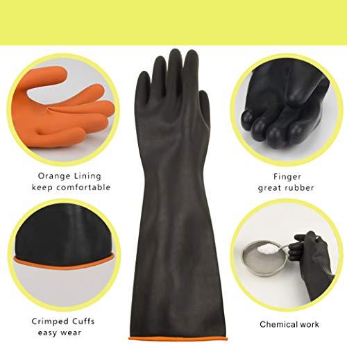 Guanti chimici in lattice PPE in gomma resistente Sicurezza sul lavoro Guanti protettivi lunghi Guanti protettivi Guanti 22 neri resistenti Resistenti a acidi forti alcali e olio 1 paio