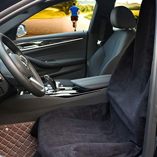 Hiveseen Coprisedile Anteriori Auto Universale 100 Impermeabile Antiscivolo e Asciugamano SudareAssorbente Super Lavabile in Lavatrice ProtezioneCopertura Sedili Auto Singolo per FitnessNero