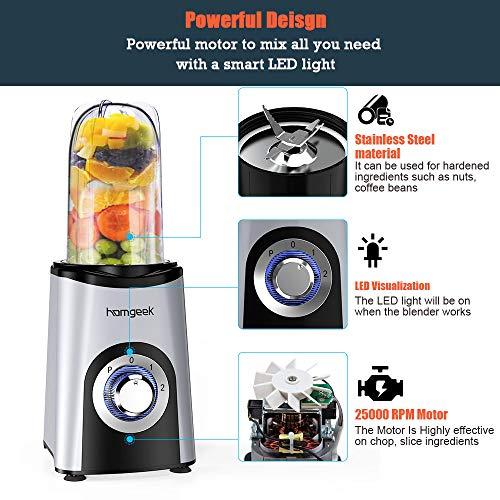 Homegeek Frullatore Mini Frullatore Portatile Compatto da 350 Watt per Smoothies con 4 Lame in Acciaio Inox ad Alta Velocit senza BPA Lavabile in Lavastoviglie