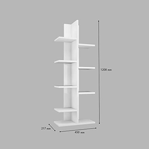 Homemania Libreria Sarmasik Legno Bianco 45x217x1208 cm