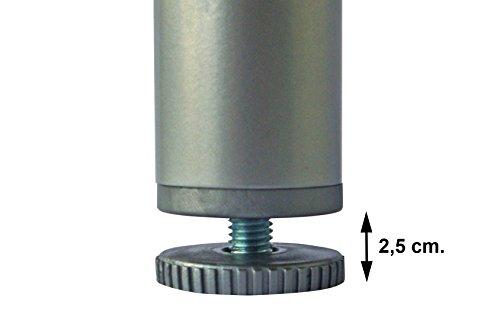 Home System Piedino Tondo in Metallo per Reti Doghe Letto  40Altezza 20 cm Grigio 40 x 20 cm