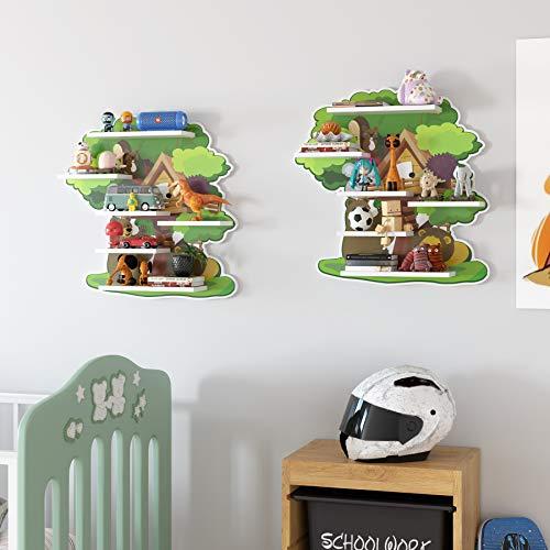 Homfa Scaffale a Parete Mensola Libreria per Bambini in Camera da Letto Disegno di Animazione del Fumetto Ripiani galleggianti per la Decorazione muraleModello Forma ad Albero