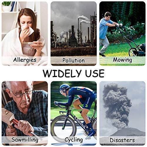 HONYAO M Antipolvere M Respiratore M per Bicicletta con 4 Filtri in Carbonio Extra 2 Valvole per Saldatura Polline Allergia Lavorazione del Legno Falciatura Correre Ciclismo Nero