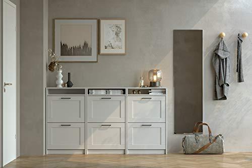 Iconico Home MIK Traditional Scarpiera doppia profondit con 2 ante e vano a giorno Ingresso Guardaroba Portaoggetti 60x30xh995 cm Bianco