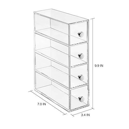 iDesign Porta trucchi con 4 cassetti Mini cassettiera per make up cosmetici e gioielli Organizzatore trucchi con cassetti girevoli in plastica trasparente