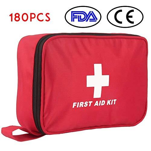 Kit di Primo Soccorso 180 Pezzi Kit di Pronto Soccorso Compatto Professionale Coperte di Emergenza Maschera CPR impermeabile per Casa Auto Campeggio Escursionismo Ufficio Barca Viaggio