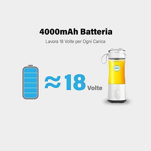 LaHuko Frullatore Portatile Mini Frullatore per Frullati Multifunzionale con 4000mAh Batteria USB Ricaricabile individuales 380ML BPA Free per Frullati Frappe Frutta e Verdura Pappe Bimbi