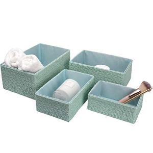 La Jole Muse  Set di 4 cestini impilabili in corda di carta intrecciata contenitori per trucchi armadio bagno camera da letto turchese