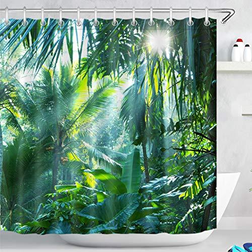 LB Foresta Verde Tende da Doccia 240X200CM Fogliame TropicalePalmaFoglia di Banana nella Giungla Tende da Bagno con Ganci Extra Largo Impermeabile Antimuffa Poliestere Casa Decorazione