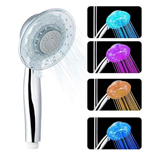 LEDGLE Soffione Doccia a Led Materiale ABS con Funzione cambiacolore a 7 velocit RGB e Flusso dAcqua Regolabile