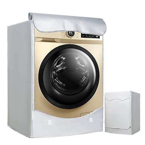 LEESITEC Lavatrice Copertura Argento Esterni Impermeabile Antiultravioletti per di Carica Frontale lavatrici e Asciugatrice Copertura60 x 64 x 85CM Argento