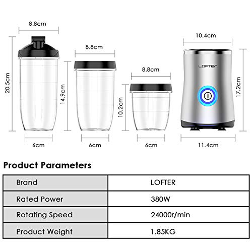 LOFTer Mini Frullatore Smoothie Maker Elettrico 380W Blender Portatile Frullatore Frullati Mixer Multifunzione con 3 Bottiglie per Frutta Smoothie Frullatti e Chicco di Caff 24000 girimin