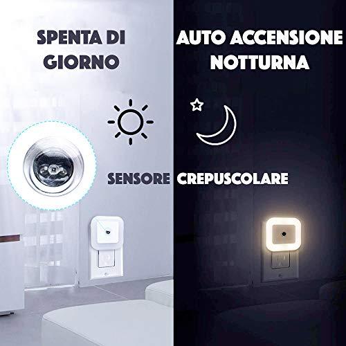 Luce Notte Led Intelligente JPLEDCon Sensore CrepuscolareLuce Notturna Bambini Bianco CaldoPer CameraSoggiornoScale Corridoio Cucina Garage Bagno Libreria Cameretta Bimbi