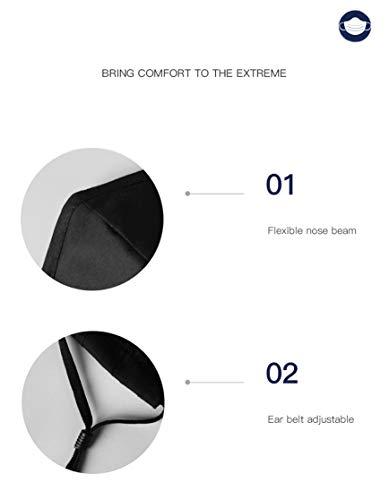 Lyanty Maschera antinquinamento Maschera protettiva Maschere per la bocca in cotone lavabili una maschera  8 filtri Nero