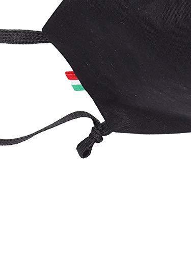 Mascherina Cotone 100 Lavabile Filtrante 3 Strati con Tasca Filtro in TNT ricambiabile Misura per Uomo Confez 3 Pezzi NeroBluetteBlu