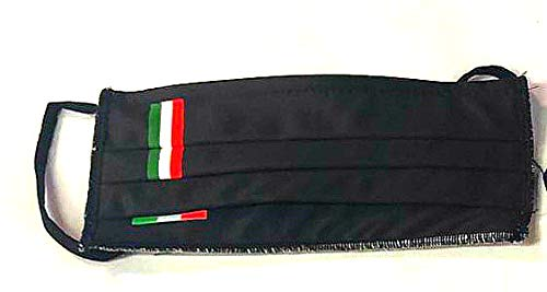 Mascherina per Viso con elastici lavabile e sterilizzabile Unisex Made in Italy NERO