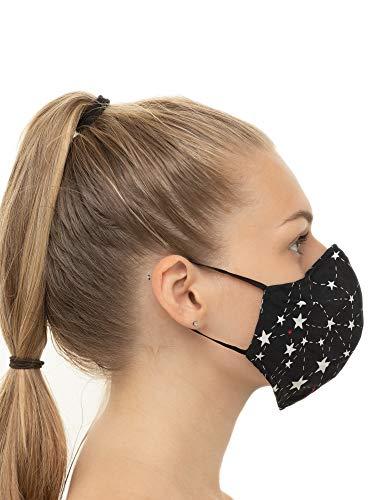 Mascherina PolvereMaschera Protettiva Riutilizzabile Lavabile Maschera Antipolvere per Donna e Uomo Cotone 100 nero con le stelle