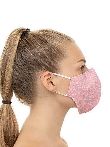 Mascherina PolvereMaschera Protettiva Riutilizzabile Lavabile Maschera Antipolvere per Donna e Uomo Cotone 100 rosa con stelle