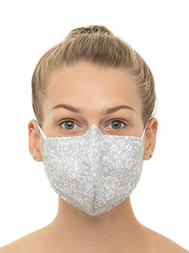 Mascherina PolvereMaschera Protettiva Riutilizzabile Lavabile Maschera Antipolvere per Donna e Uomo Cotone 100 grigio con fiori