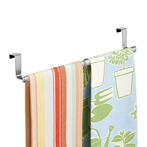 mDesign appendi Strofinacci o appendi Asciugamani da agganciare  Porta Asciugamani per Cucina Senza Bisogno di forare Il Muro  Facile Montaggio  Colore Argento