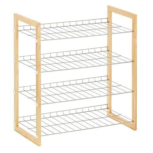 mDesign Scarpiera salvaspazio a 4 ripiani  Porta scarpe in metallo e legno  Pratico scaffale per scarpe per corridoio armadio o camera da letto  naturale