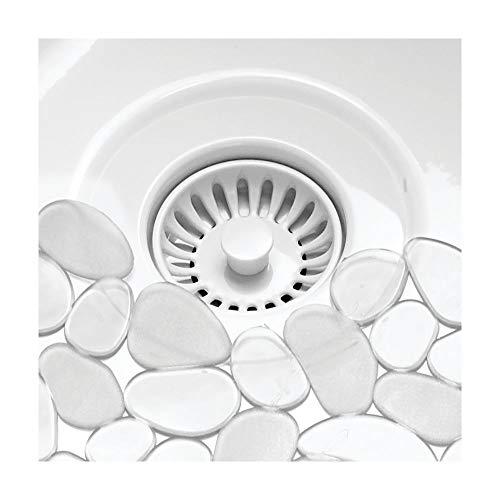 mDesign Set da 2 Tappetino lavello in PVC  Perfetto anche come tappetino scolapiatti  La sua struttura  ritagliabile  Protegge il lavandino cucina dai graffi  Motivo a ghiaia  Trasparente