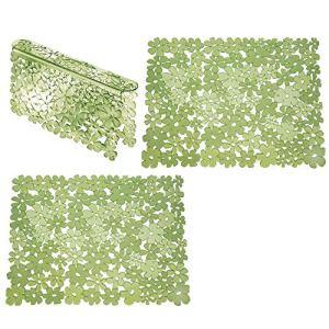 mDesign Set da 3 Tappetini per lavello cucina in plastica  Grande tappetino lavandino protettivo con design floreale  Accessori cucina per lavello a doppia vasca  verde