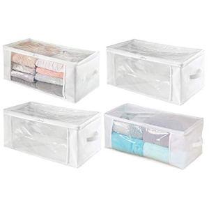 mDesign Set da 4 Organizer Box con Cerniera  Contenitore portaoggetti in polipropilene traspirante  Ideale per vestiti biancheria da letto e coperte  biancotrasparente