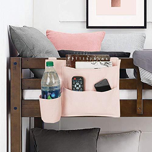 mDesign Tasca portaoggetti da letto  Compatto portaoggetti letto con 4 tasche in cotone pesante  Organizer e portaoggetti da appendere ai bordi del letto tramite 3 appositi tiranti  rosa