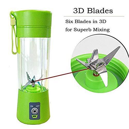 Mini Frullatore Personal Blender Portable Juicer Cup Frullatore Elettrico USB Frullatore Ricaricabile Sei Lame in 3D Per un Superbo Mixaggio 380mL Green