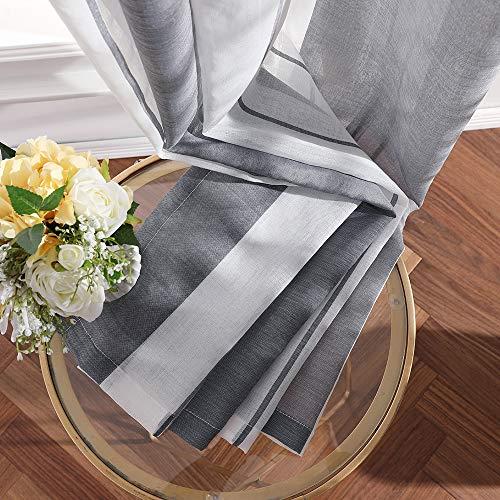 MIULEE Lino Voile Tenda Finestra con Occhielli Tenda a Pannello Tende a Vela Trasparente per Soggiorno e Camera da Letto 2 Pezzo Set BiancoGrigio 140X245Cm