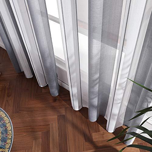 MIULEE Lino Voile Tenda Finestra con Occhielli Tenda a Pannello Tende a Vela Trasparente per Soggiorno e Camera da Letto 2 Pezzo Set BiancoGrigio 140X225Cm