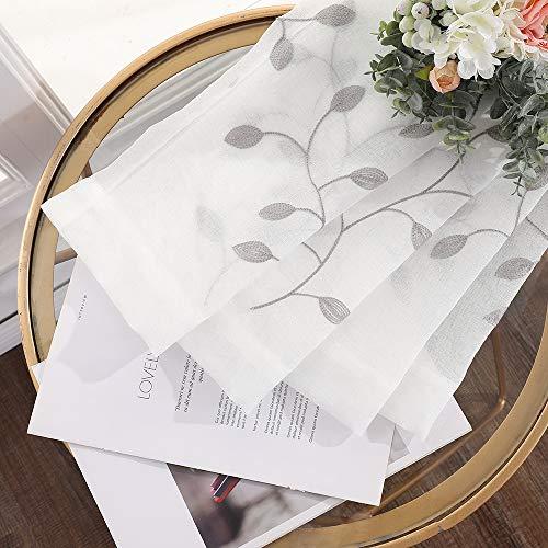 MIULEE Voile Tenda per Finestra con Occhielli Tende Trasparenti per Soggiorno e Camera da Letto 2 Pannelli 140 X 145 cm Rami Grigio