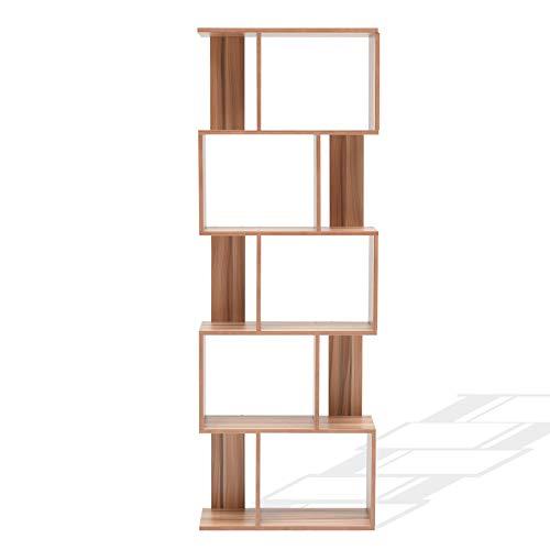 Mobili Rebecca Libreria Scaffale 5 Mensole Legno Marrone Arredamento Moderno Sala Ufficio cod RE4790