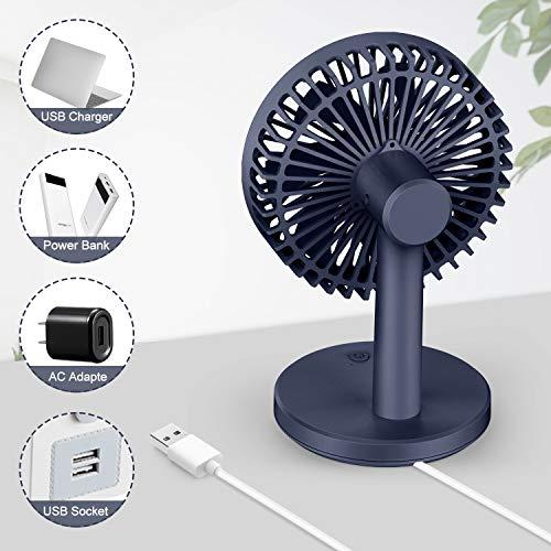 MOSOTECH USB Ventilatore da Tavolo  3 velocit Regolabile 7 Pale Potente e Ultra Silenzioso per Scrivania Casa Ufficio Esterno Viaggiare  Blu