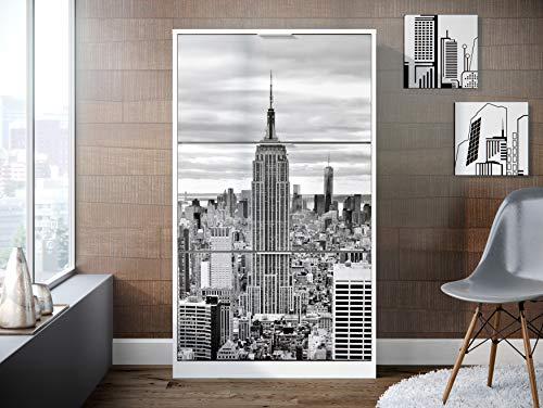 Movian scarpiera a 3 sportelli in stile moderno modello Constance 25 x 75 x 128 cm Bianco con stampa di New York