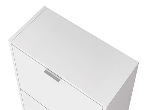 Movian scarpiera a 4 sportelli in stile moderno modello Idro 25 x 52 x 163 cm colore bianco