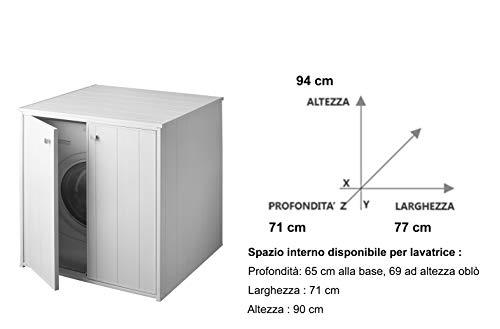 Negrari AM5013P Mobile Coprilavatrice XXL per Tutte le LavatriciAsciugatrici in Commercio Bianco