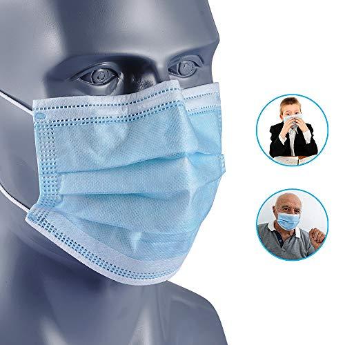NUR Maschere Facciali Monouso Igieniche con Passante Elastico per lOrecchio 3 Strati Taglia Unica per Tutte Confezione da 50 Pezzi