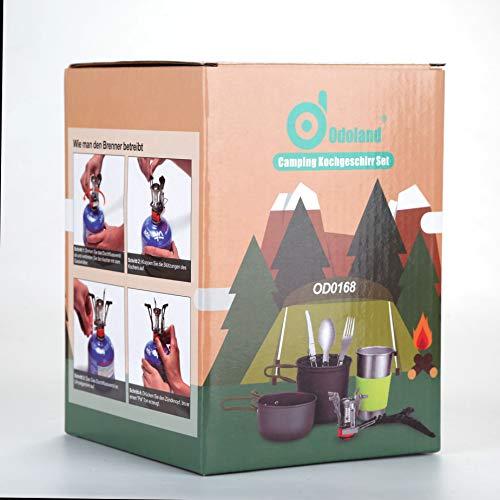 Odoland Pentole Set da Campeggio incl 12 L Pentola e 06 L Padella Antiaderente in Alluminio Fornellino da Campeggio Tazza da Campeggio Posate Pieghevoli  Pentole Kit per Campeggio Cucina