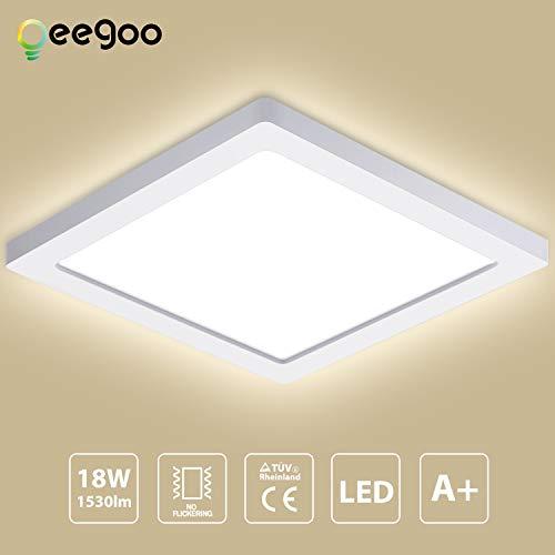 Oeegoo 24W 13mm Ultra magro LED Plafoniera Lampada da soffitto luce da incasso LED quadrata Illuminazione plafoniere 2040LM Equivalente 150W tradizionale lampadina per Soggiorno corridoio cucina