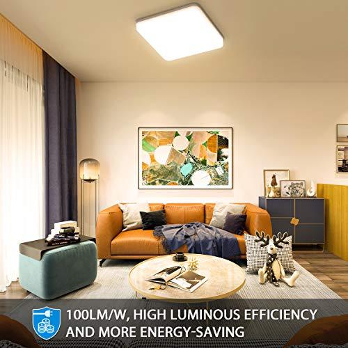Oeegoo 24W Plafoniera LED 2400LM Lampada da soffitto LED IP44 impermeabile Bianco naturale 4000K plafoniera luce quadrata per soggiorno Sala da pranzo Camera da letto Bagno Cucina Balcone Corridoio