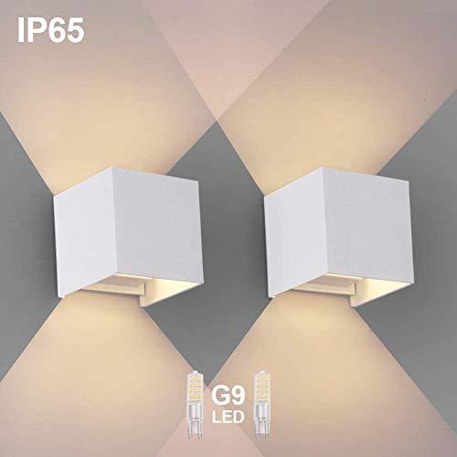 OOWOLF 2 Pezzi LED Lampada da Parete IP65 Impermeabile Applique Moderna Lampadina G9 LED Sostituibile Bianco Caldo 3000K per Esterno ed Interno Portico Bagno Corridoio Balcone Bianco