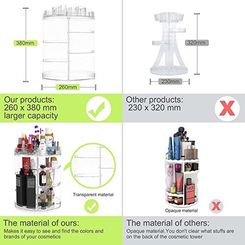 Organizzatore di trucco espositore cosmetico girevole da 360 gradi organizer per vanit regolabili Scaffale da bagno organizer cosmetico da bancone contenitore cosmetico trasparente cristallino